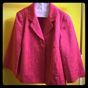 Chico's hot pink 3/4 length sleeve jacket size 0